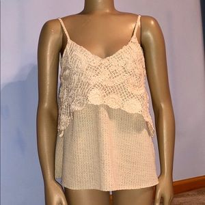 Zara W&B Cream Crochet Overlay Tank